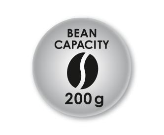 Maximální objem 200g kávových zrn