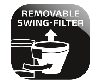 removable, dishwasher-safe swivel filter