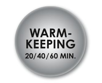 Uživatelsky přívětivá funkce udržování v teple (20, 40 nebo 60 minut)